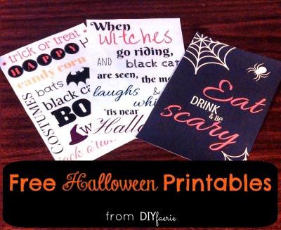 Free Halloween Printables   DIYfaerie