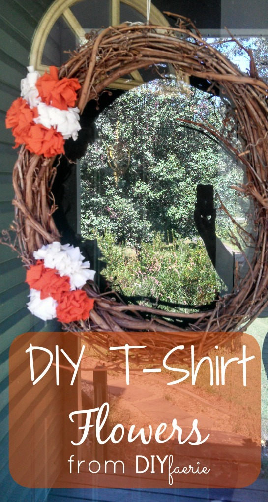 Spruce up any wreath, holiday shelf or center piece with these super simple flowers made from old t-shirts. Your friends and family will think you devoted an entire weekend to making these easy DIY tshirt flowers!